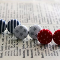 Fabric Button Earrings, Holiday Trio, Red White and Blue Earrings, Patriotic Theme, Party Favors, Nautical