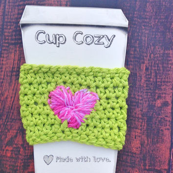 Pink heart Lime green Cup Cozy, Crochet Coffee Cup Sleeves, 100% Cotton, Reusable, Washable, Coffee To Go, Take Out Cup Cozy