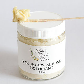 Raw Honey Almond Face Exfoliant/Scrub/Mask. Organic Coconut Oil, Smoothing and Firming Natural Facial Mask. Almond Meal Exfoliant, Healing.
