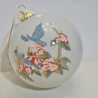 Art Studio Company Birds Christmas Ornament Cherry Blossoms Green Velvet Box Holiday Home Decor