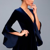 Wrapped in Luxe Navy Blue Velvet Bell Sleeve Skater Dress