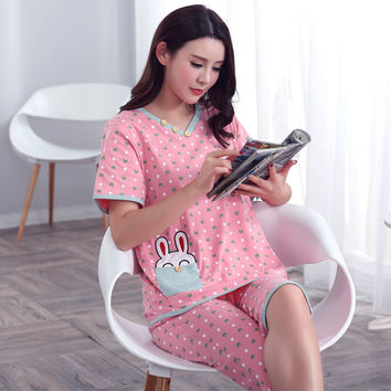 Plus Size XXXL 2017 summer sleepwear women pajamas sets v-neck cartoon short sleeve pajama suit bodycon women homewear suit soft