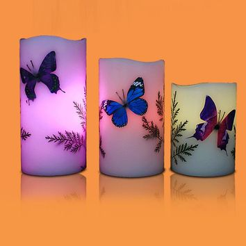 3pcs Colorful Changing Flameless Butterfly LED Candle Light Atmosphere Decorative Lamp with 18 Keys Remote Control