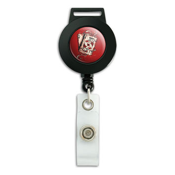 Stylized Cards Casino Poker Game Night Retractable Badge Card ID Holder