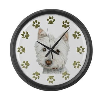 WEST HIGHLAND WHITE AND PAWS ART LARGE WALL CLOCK