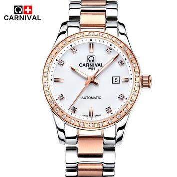 AAA Carnival Brand Watch Women Luxury Vintage 25 Jewels Automatic Mechanical Watch Fashion Waterproof Ladies Wristwatches