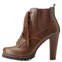 Brown Lug Sole Side-Gored Combat Booties by Charlotte Russe