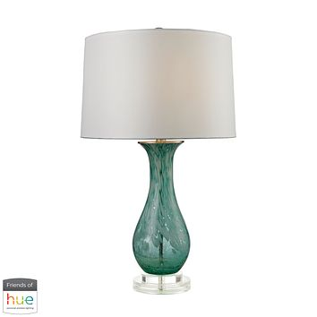 Swirl Glass Table Lamp in Aqua - with Philips Hue LED Bulb/Bridge