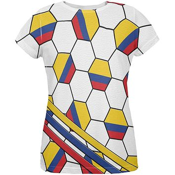 World Cup Colombia Soccer Ball All Over Womens T Shirt