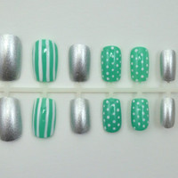 "Artificial Nails - ""Stripes & Spots"" - Mint/Turquoise, White, Silver, Stripes and Dots, Hand Painted, Glue-on Fake Nails"