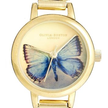Olivia Burton Woodland Blue Butterfly Gold Mesh