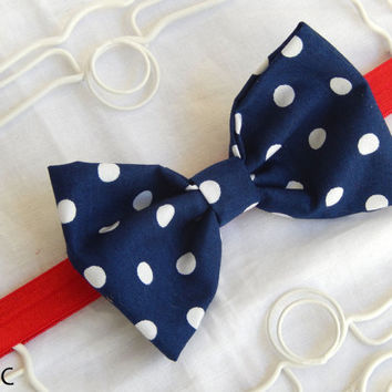 Summer Patriotic Red White Blue Sailor Bow Baby Headband Navy Blue Dot Fabric Bow Headband Newborn Photo Prop USA Colors