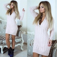 Deep V-neck Cable Knit Long Pullover Sweater
