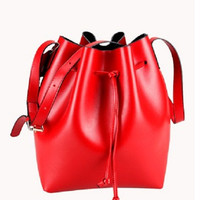 Joanna Calf Leather Bucket Bag Red