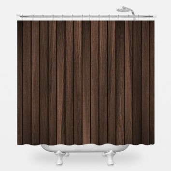 Retro Wood Dark Shower Curtain
