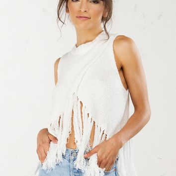Fringe Detail Top in Ivory and Grey