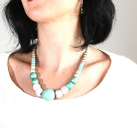 Patina white and mint extra large necklace, chunky wooden beads, pastel OOAK necklace, wood hand painted pastel necklace