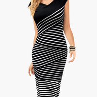 Black Cap Sleeve V-Neck Striped Midi Dress