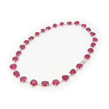 """Art Deco Multi- Shape Rubita Crystal Stone Sterling Silver Necklace by Fronay Co, 17"""""""