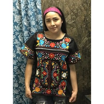 Tehuacan Fino Closely Embroidered Blouse