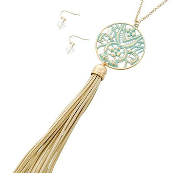 Gold & Mint Suede Leather Tassel Pendant Long Necklace and Earring Set