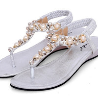 Strap Thong Pearl Sandals 3 Colors