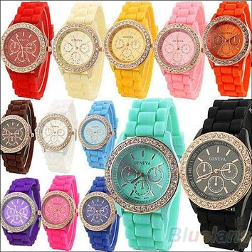 Geneva Silicone Quartz Golden Crystal Stone Jelly Wrist Watch