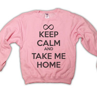 Keep Calm and Take Me Home - One Direction Sweatshirt - Light Pink - All Sizes Available - 1D Sweater