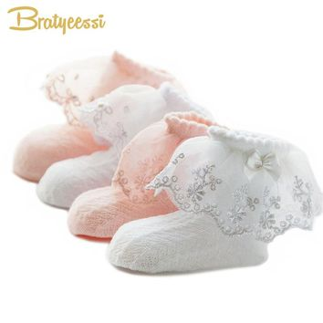 Beautiful! Lace Summer Baby Girl Socks Princess Cotton Ruffles Ankle Length S, M And L