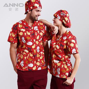 ANNO  printed medical clothings for cotton veterinary short sleeve scrubs  uniform