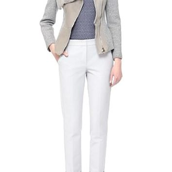 Armani Collezioni Genuine Shearling & Wool Blend Knit Moto Jacket | Nordstrom