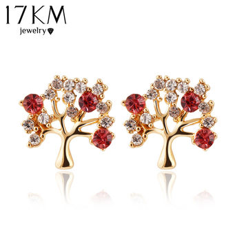 17KM Red and white rhinestones set on tree branches. Stud earrings.