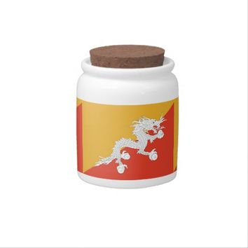 Bhutanese Flag Candy Jar