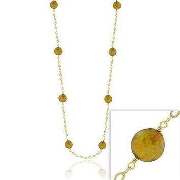 18K Gold over Sterling Silver Freshwater Cultured Champagne Coin Pearl Chain Necklace