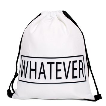 """Whatever"" Letter Text Drawstring Bags Cinch String Backpack Funny Funky Cute Novelty"