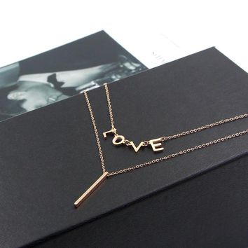 Martick Double Link Chain Statement Necklace For Woman Love Letter Necklace Rose Gold Color Jewelry P161