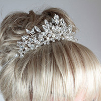 Wedding Tiara, Bridal Tiara, Pearl Tiara, Crystal Tiara,Tiaras & Crowns, Wedding Side Bands