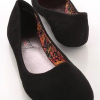 Black Rough Faux Suede Closed Toe Flats