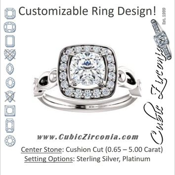 Cubic Zirconia Engagement Ring- The Deb (Customizable Cushion Cut Design with Large Halo, Fleur-de-lis Trellis and Bubbled Infinity Band)