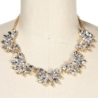 SALE-Crystal Faceted Stone Flower Necklace