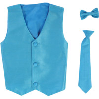 Aqua Blue Poly-Silk Boys Vest & Tie Set 3M-14