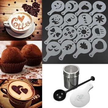 Kitcen Tea Coffe Tools Set Coffee Shaker Chocolate Duster 16pcs Frothing Milk Stencils For Cappuccino Latte Measure Spoon