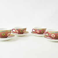 Chinese Tea Cups and Saucers, Vintage Mun Shou Rose Longevity Pattern, Sunflower Mun Shou, Chinese Porcelain Cups