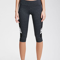 Athletic Mesh-Paneled Capri Leggings