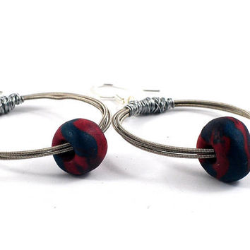Silver Hoop Earrings with Wire Wrapped Recycled Guitar Strings & Handmade marbled polymer Clay Beads in Rusty Red Grey - Music Lovers Gift