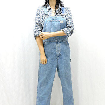 80s Guess Overalls / size M / 31 X 30 / vintage Guess bib overalls / light wash denim bib over all jeans / made in USA