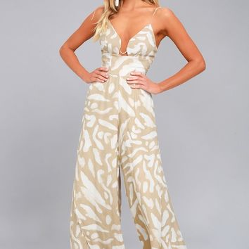 Finders Keepers Mercurial Beige Print Wide-Leg Jumpsuit