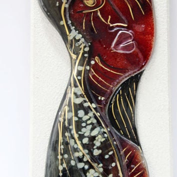 Hand Painted fused glass wall art by virtulyglass on Etsy
