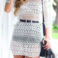 White Cut Our Fringed Lace Dress