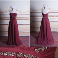 Strapless A-line Bridesmaid Dress, Pleats, Beading, Empire Waist, Floor Length Evening Dress